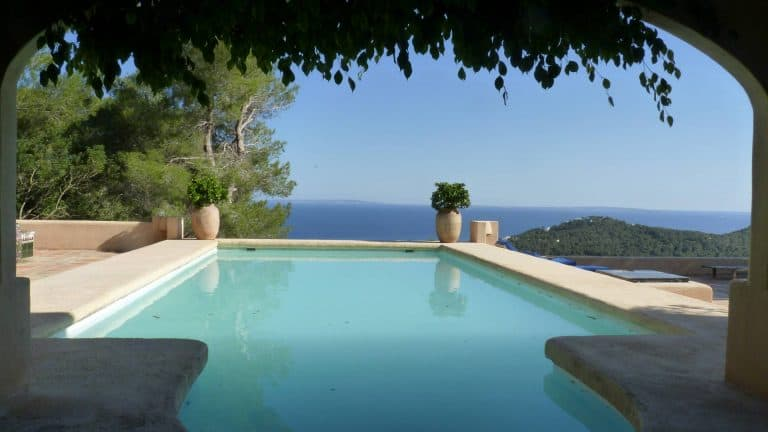 Long term rental oriental style property near Ibiza with a stunning sea view