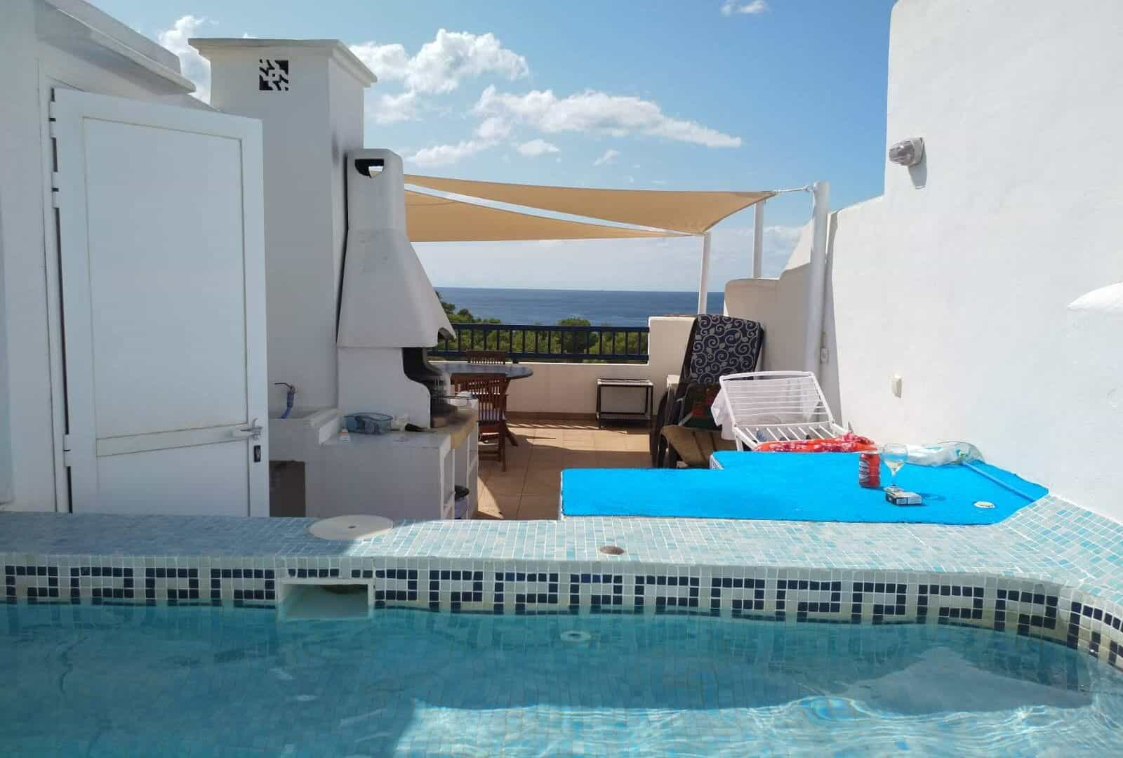 Lovely roof top apartment with sea views, sunsets and private mini-pool in Cala Coral, Ibiza West Coast.
